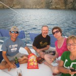 Pou Pou's on the bow after snorkeling in Ile Fourche