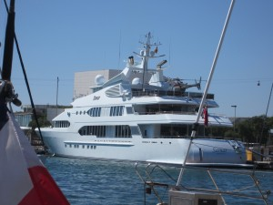 "One of our ""boat"" neighbors in Port Vell--Nice helicopter!"