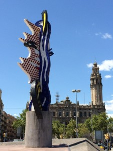 Face of Barcelona in the Moll de la Fusta-right outside our marina