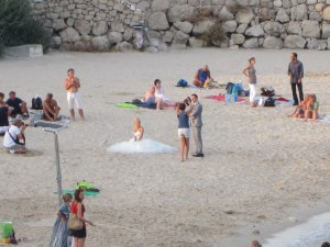 A close up of what was happening on the beach in Antibes