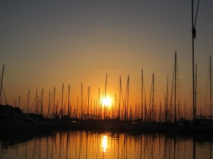 Sunrise in the marina at Antibes