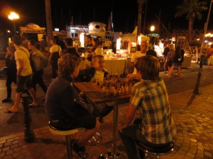 Evening chess along the Sanary harbor