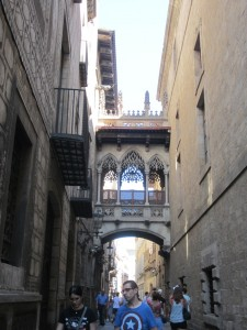 One of the many narrow streets in the Gothic area near the cathedral in Barcelona