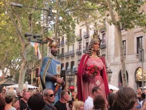 Random parade down Las Rambla in Barcelona