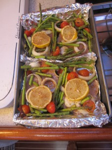 Swordfish and veggies ready for the oven.
