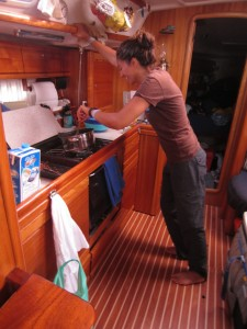 "Emmy ""trying"" to cook while underway"