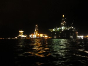 The oil drill platforms at the Las Palmas harbor