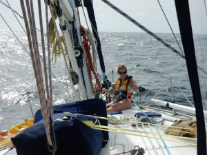 First Mate Brenda untangling the lines