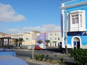 Colorful buildings on the harbor road