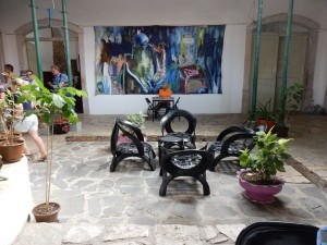 Chairs made from tires at the cultural center in Mindelo