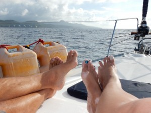 Sailing to Marigot Bay--relaxing on the bow while the auto helm does all the work!